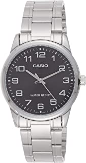 Casio Men's Black Dial Stainless Steel Band Watch - MTPV001D-1B