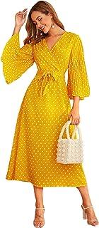 SheIn Women's Polka Dot Bell Long Sleeve V neck Tie Waist Flare A Line Dress