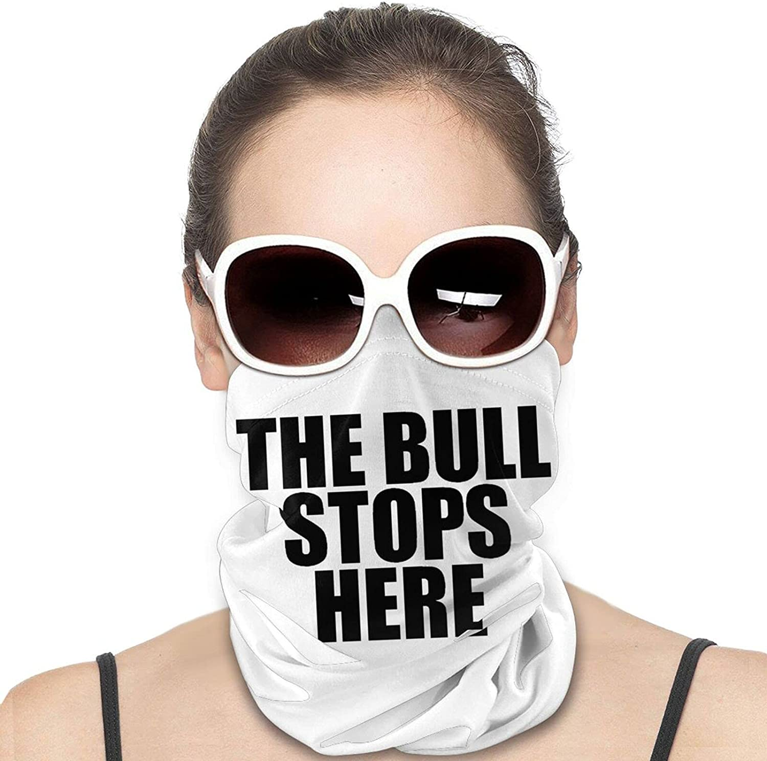The Bull Stops Here Round Neck Gaiter Bandnas Face Cover Uv Protection Prevent bask in Ice Scarf Headbands Perfect for Motorcycle Cycling Running Festival Raves Outdoors