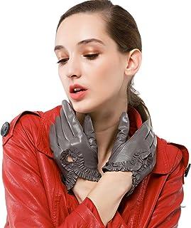 Nappaglo donne italiane di guanti in pelle nappa, polso curva semplice guida unlined guanti (touchscreen o non touchscreen)