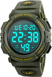 Men's Digital Sports Watch LED Military 50M Waterproof Watches Outdoor Electronic Army Alarm Stopwatch Green
