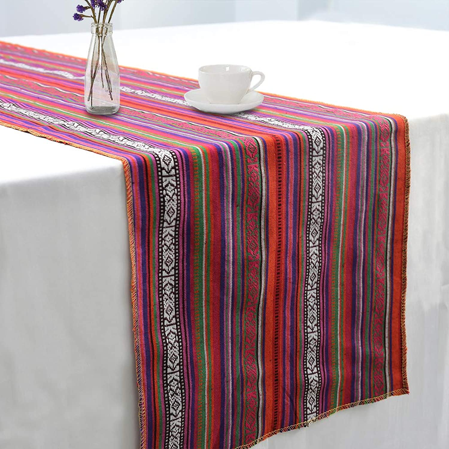 GFCC Pack of 5 Mexican Blanket Table Runner for Mexican Themed Party Decoration - 14x108inch