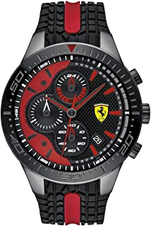 Ferrari Mens Quartz Watch, Chronograph Display and Silicone Strap 830592