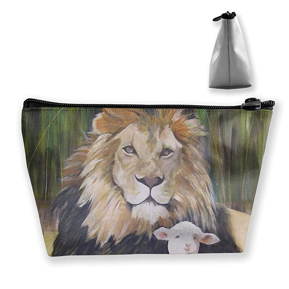 Trapezoidal Cosmetic Bags Makeup Toiletry Pouch Lion Sheep Print Travel Storage Bag Phone Purse
