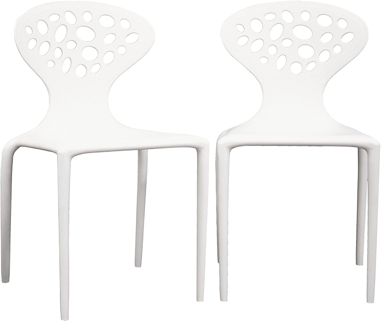 Baxton Studio Marina White Plastic Molded Chair Set of 2, Medium