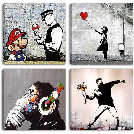 Degona Impression sur toile XXL en 4 pièces (de 30 x 30cm chacune), motif Banksy, pour séjour salon chambre à coucher cuisine bureau bar restaurant