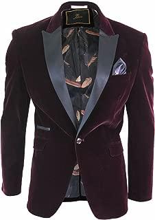 CAVANI Men Soft Velvet Wine Maroon 1 Button Dinner Jacket Tuxedo Blazer Smart Casual Fit