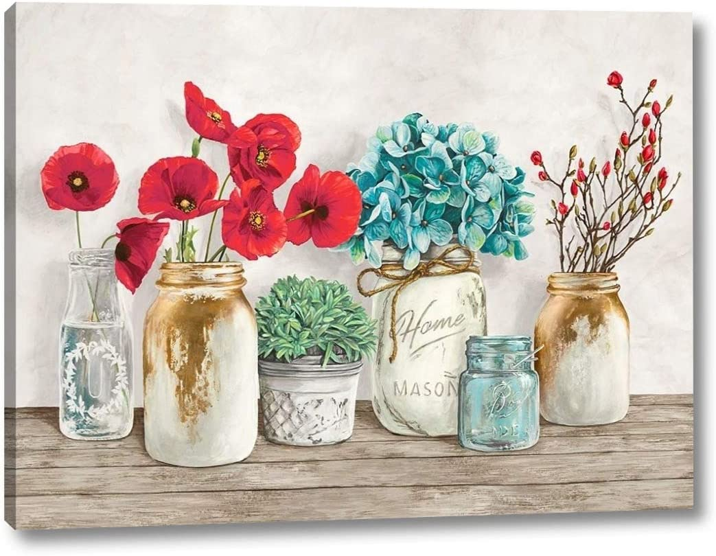 Floral Composition with Mason Jars by 12