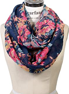 Scarfand's Romantic Rose Flower Print Lightweight Infinity Fashion Scarf & Head Wrap