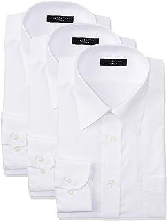 [タカキュー] 長袖 ワイシャツ 形態安定 レギュラーフィット レギュラーカラー シロ ムジ ブロード ビジネス メンズシャツ 3点セット
