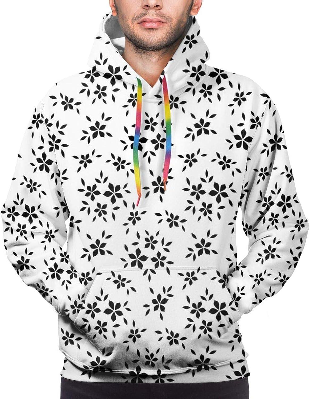 TENJONE Men's Hoodies Sweatshirts,Simplistic Monochrome Spring Leaves Abstract Florets Stem Plants Essence Theme