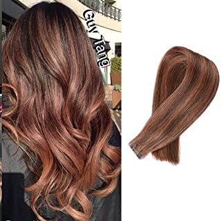 Highlighted Tape in Extensions Human Hair Medium Brown with Medium Auburn Mixed Real Hair Double Sided Adhesive Tape Seamless Skin Weft Silk Remy Hair Tape on Extensions
