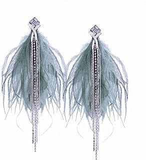 TIDOO Jewelry Fashion Tassels Cubic Zirconia Earring Stud for Girls Long Feather Earring