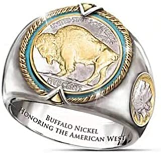 2PCS Commemorative Buffalo Buffalo Nickel Coin American West Cowboy Pirate Two-tone Ring Male 11号 zx6546 two-color
