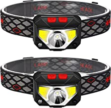 2-Pack Rechargeable Headlamp Flashlight, 800 Lumens Motion Sensor Head Lamp, IPX4 Waterproof, Bright White Cree Led & Red ...
