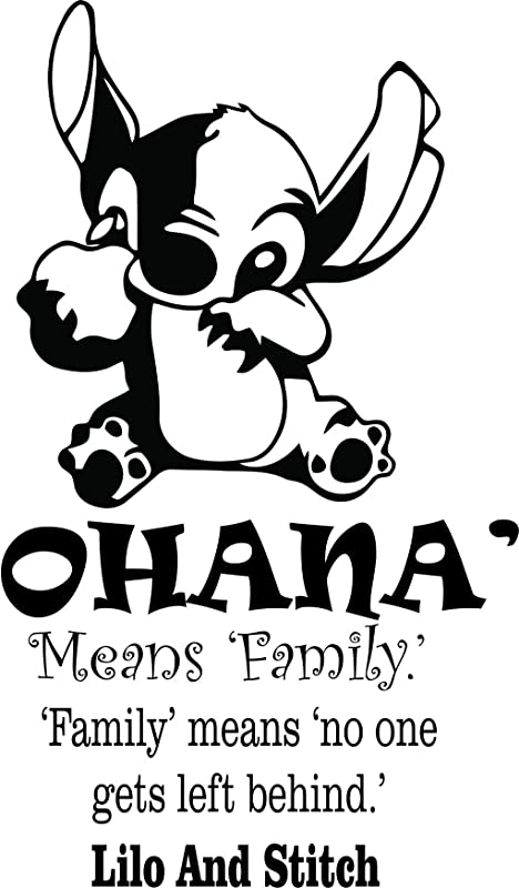 LILO And Stitch Wall Decals For Kids Walls Disney Design Decor For Childrens Bedrooms Kid Baby Art Stickers Vinyl Removable Decal Ohana Means Family Quote Size 30x20 Inch
