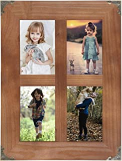 SOLOUR 4x6 Picture Frames Collage, Rustic Farmhouse Decor 4 Opening 4x6 Picture Frame with Decorative Metal Corners for Table Top Display and Wall mounting Photo Frame (Brown, 16.2x12.2 inch)