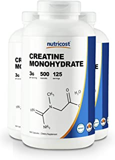 Nutricost Creatine Monohydrate 750mg, 500 Capsules (3 Bottles)