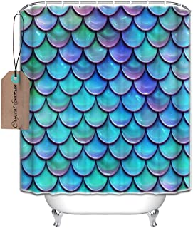 Fish Scales Purple Blue Shower Curtain Decoration Waterproof Polyester Fabric Bathroom Shower Curtain 60x72inch