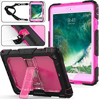 SEYMAC Stock for iPad Mini 2 Case, 3 Layers Shockproof Full-Body Rugged Hard PC & Soft Silicone Case with [Portable Shoulder Strap] & [Built-in Kickstand] for iPad Mini 1/2/3 (Rose/Black)