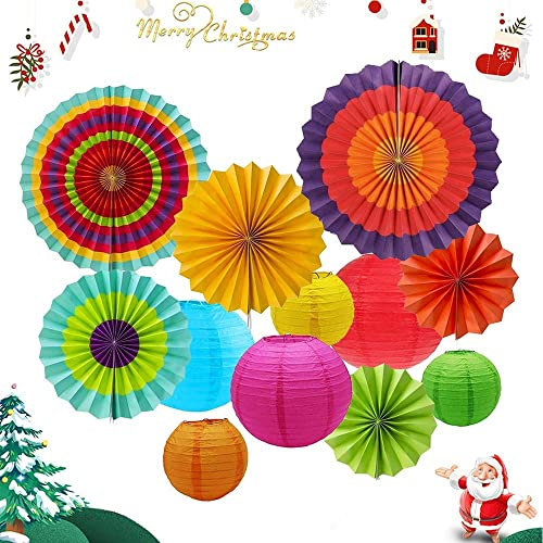 12pcs Hanging Fiesta Paper Fan Lanterns Decoration Mexican Carnival Kids Party