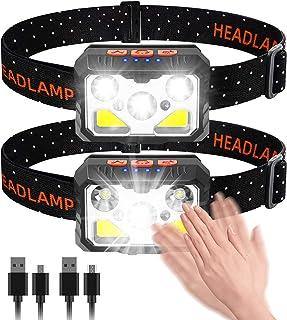 bedee Linterna Frontal, Frontal LED Recargable, Linterna Cabeza 7 Modos con Sensor y Luz Roja, 2 Unidades 1500 Lúmenes lin...