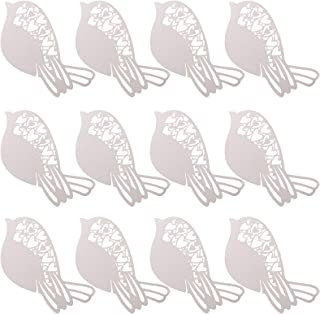 Love Heart Birds Wedding Table Glass Place Name Cards Party Decorations, 12 pcs Ivory