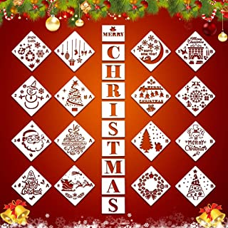 26Pcs Christmas Plastic Painting Stencils, Reusable Porch Logo Stencil Merry Christmas Expression Template DIY Card Craft Art Painting Spray Window Glass Wood Airbrush and Wall Art