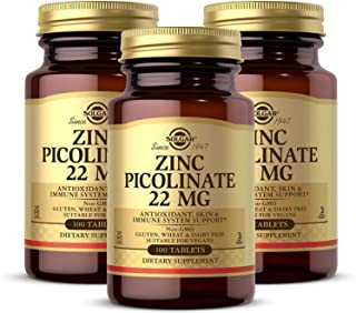 Solgar Zinc Picolinate 22 mg, 100 Tablets - Pack of 3 - Antioxidant, Skin & Immune Support - Non-GMO, Vegan, Gluten Free, ...