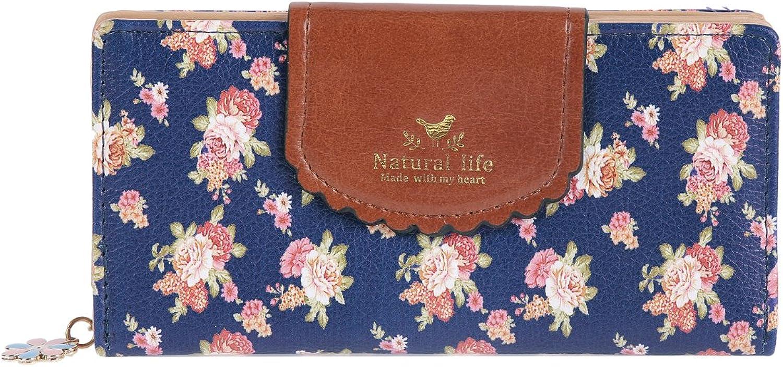 Damara Womens Patchwork Flap Clasp Expandable Zipper Wallet,Dark bluee