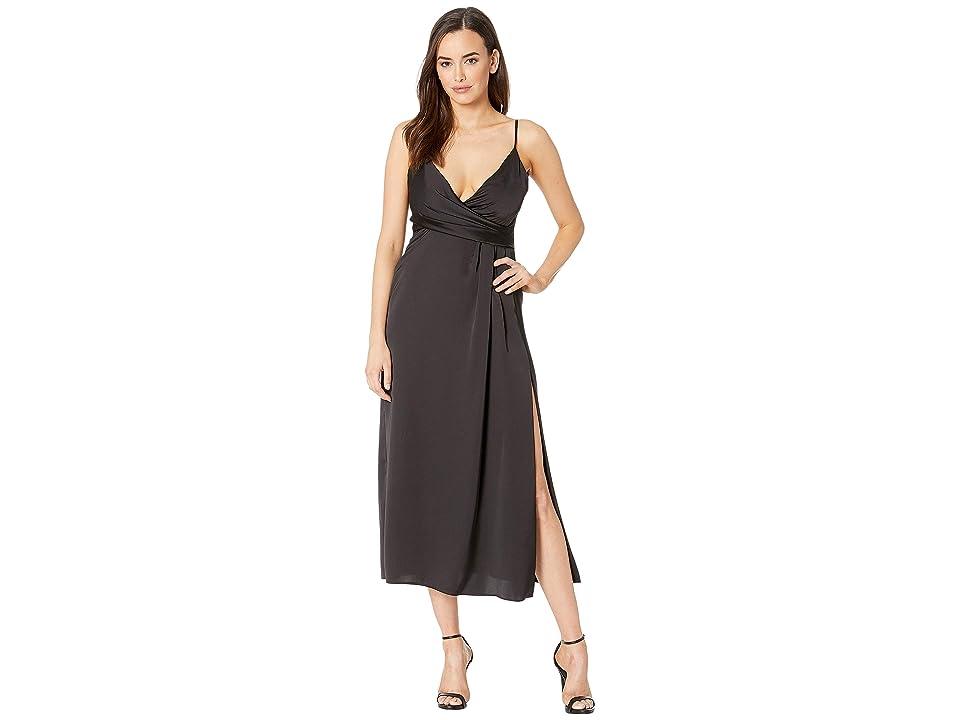 JILL JILL STUART T-Length Satin Wrap Dress (Black) Women