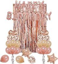 UTOPP Rose Gold Birthday Party Decorations Kit, Happy Birthday Balloons Banner, Heart & Star Foil Balloons, Latex Confetti...