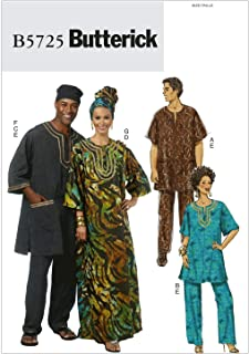 BUTTERICK PATTERNS B5725 Misses'/Men's Tunic, Caftan, Pants, Hat and Head Wrap, Size XM (SML-MED-LRG)