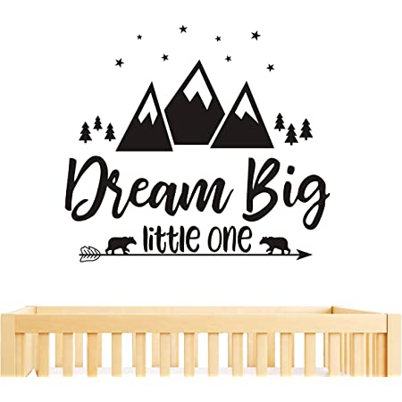 Amazon Com Dream Big Little One Quote Wall Decals Nursery Wall Decals Quote Decal Woodland Wall Stickers Vinyl Wall Decals For Children Baby Kids Boys Bedroom Y07 57x51cm Black Home Kitchen