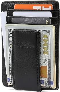 AslabCrew Slim Minimalist Front Pocket RFID Blocking Genuine Leather Magnetic Clip Wallets for Men Women, Grain-Black