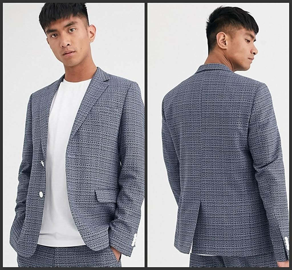 Fenghuavip Men's Casual Deep Grey Suit Coat Jacket Blazer with 2 Buttons