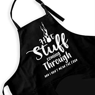 Ihopes Funny BBQ Apron for Men - Hot Stuff Coming Through Grill Apron with 2 Pockets and Adjustable Neck Strap - Perfect K...