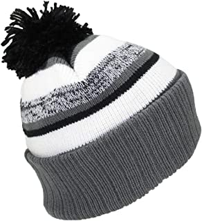 Best Winter Hats Quality Striped Variegated Cuffed Beanie W/Pom (L/XL)