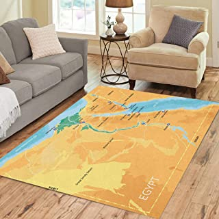 Pinbeam Area Rug Color Map of Egypt Capital Cairo Important Cities Home Decor Floor Rug 2' x 3' Carpet