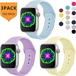 Laffav Compatible with Apple Watch Band 38mm 40mm,S/M for Women Men, 3-Pack Silicone Replacement Band Compatible with iWatch Series 4, Series 3