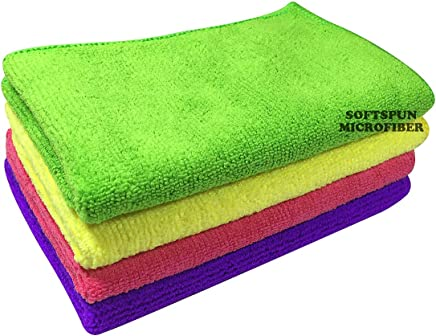 SOFTSPUN Microfiber Cleaning Cloth - Small- 30X40Cms - Pack of 4 - Multicolor