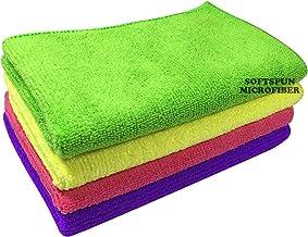 SOFTSPUN Microfiber Cloth - 4 pcs - 30x40 cms - 340 GSM Multicolor - Thick Lint & Streak-Free Multipurpose Cloths - Automotive Microfibre Towels for Car Bike Cleaning Polishing Washing & Detailing
