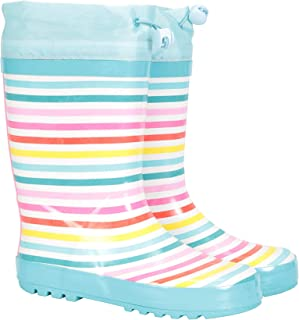 Mountain Warehouse Rainbow Kids Rubber Wellies - PVC Outer Wellington Boots, Mesh Lined Rain Shoes, Breathable - Best for Walking, Outdoors, Hiking, Travelling