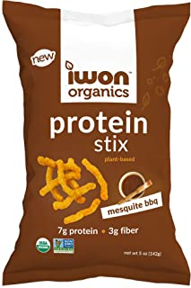 IWON Organics Mesquite BBQ Flavor Snack Stix, High Protein and Organic Healthy Snacks, 4 Bags, 5 Ounce