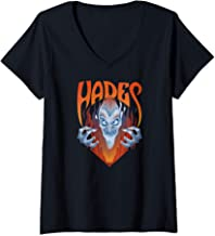 Womens Disney Hercules Angry Hades Flames Portrait Logo V-Neck T-Shirt