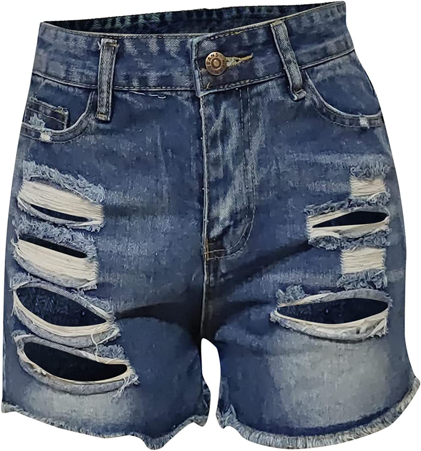 UBST Denim Shorts for Women Distressed Ripped Jean Shorts Summer Stretchy Frayed Raw Hem Hot Shorts Jeans with Pockets