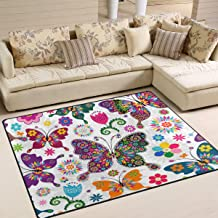 Nursery Animals Butterfly Rugs Area Carpet Polyester Anti Slip Educational Playmat for Activities Suitable for any Flooring 150 x 80 cm Animals Nursery