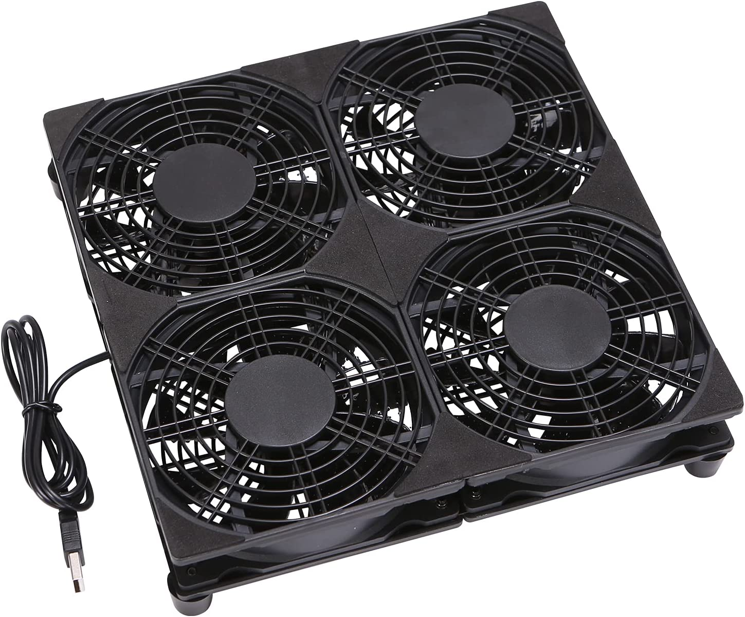 4x120mm 240mm 5V USB Powered Cooling Fan for Router Rack DIY Audio Video Network Cabinet Server Cooling Projects and Equipment Workstation Mining Machine Laptop Cooling Fan Stand