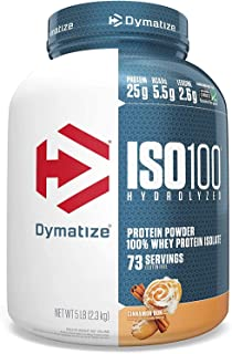 Dymatize ISO 100 Whey Protein Powder with 25g of Hydrolyzed 100% Whey Isolate, Gluten Free, Fast Digesting, 5 Pound Brown ...