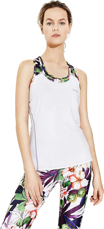 Desigual Womens' Max 63% OFF trend rank Sport Sleeve White Garden Tank Less